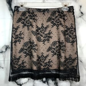 BCBG Lace Overlay Mini Skirt